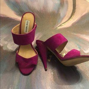 Purple dressy slide heels